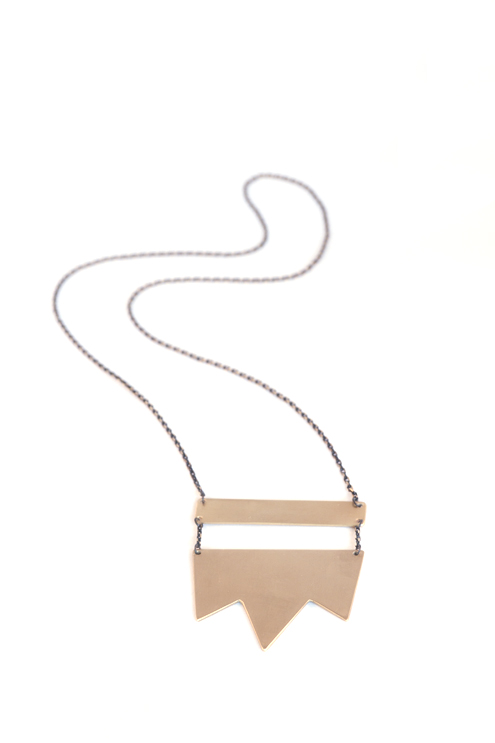 Tri-Point  Brass Necklace (Unisex)