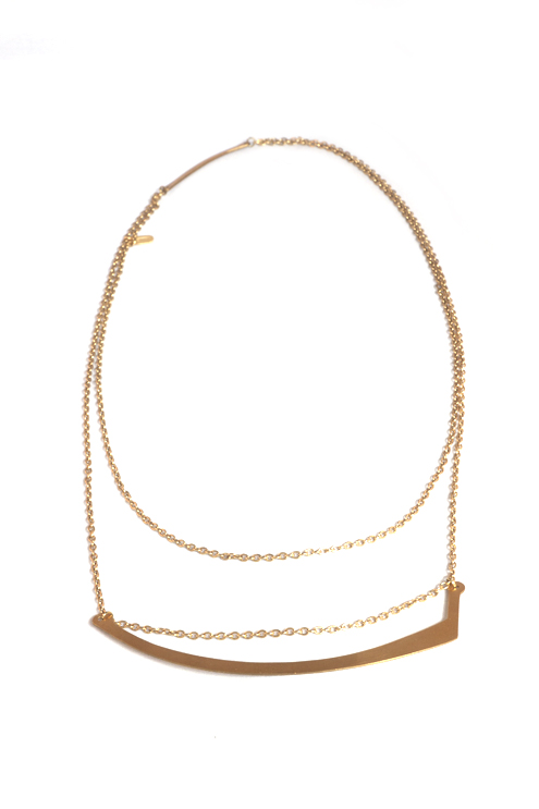 Brass Scythe Shaped Necklace